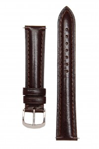 Темно-коричневый гладкий ремешок для часов c утолщением к корпусу часов