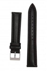 Черный гладкий ремешок для часов c утолщением к корпусу часов