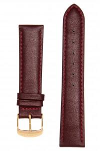 Бордовый гладкий ремешок для часов с глянцем