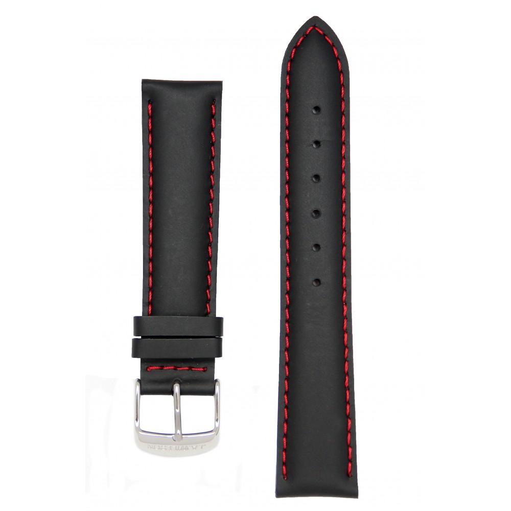 Черный с красной строчкой прорезиненный ремешок J.A.Willson
