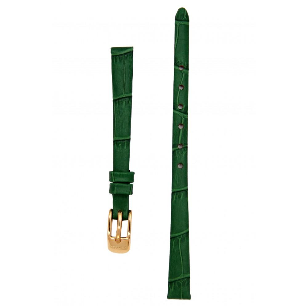 Ремешок для часов без строчки, имитация аллигатора. Зеленый