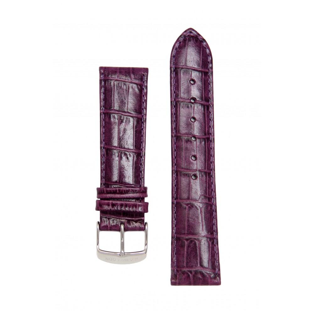 Ремень для часов имитация аллигатора темно-фиолетовый. Willson