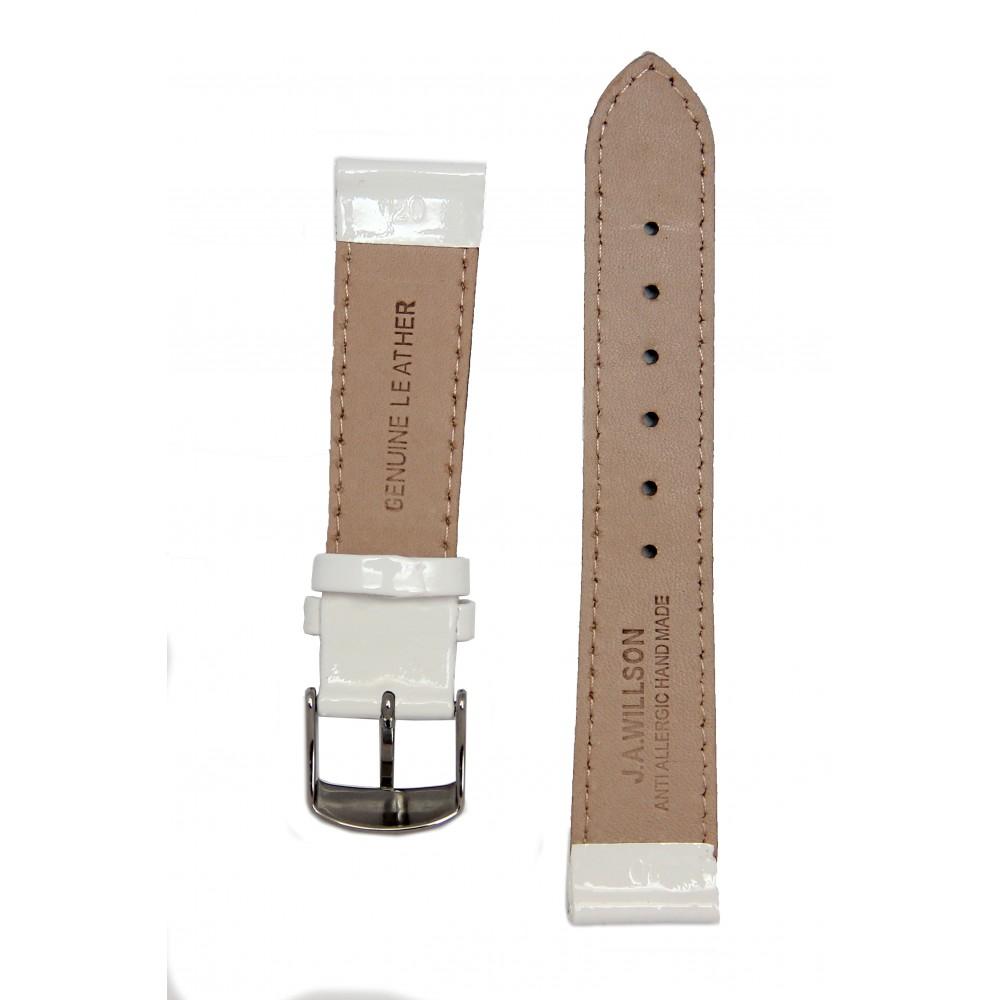 Лакированный белый ремешок для часов. Willson