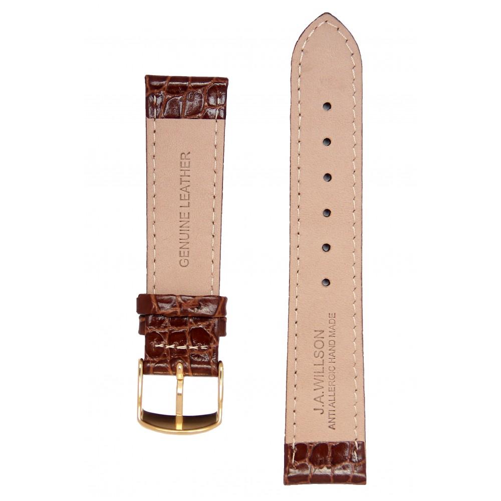 Коричневый ремешок для часов с имитацией крокодила. Willson.