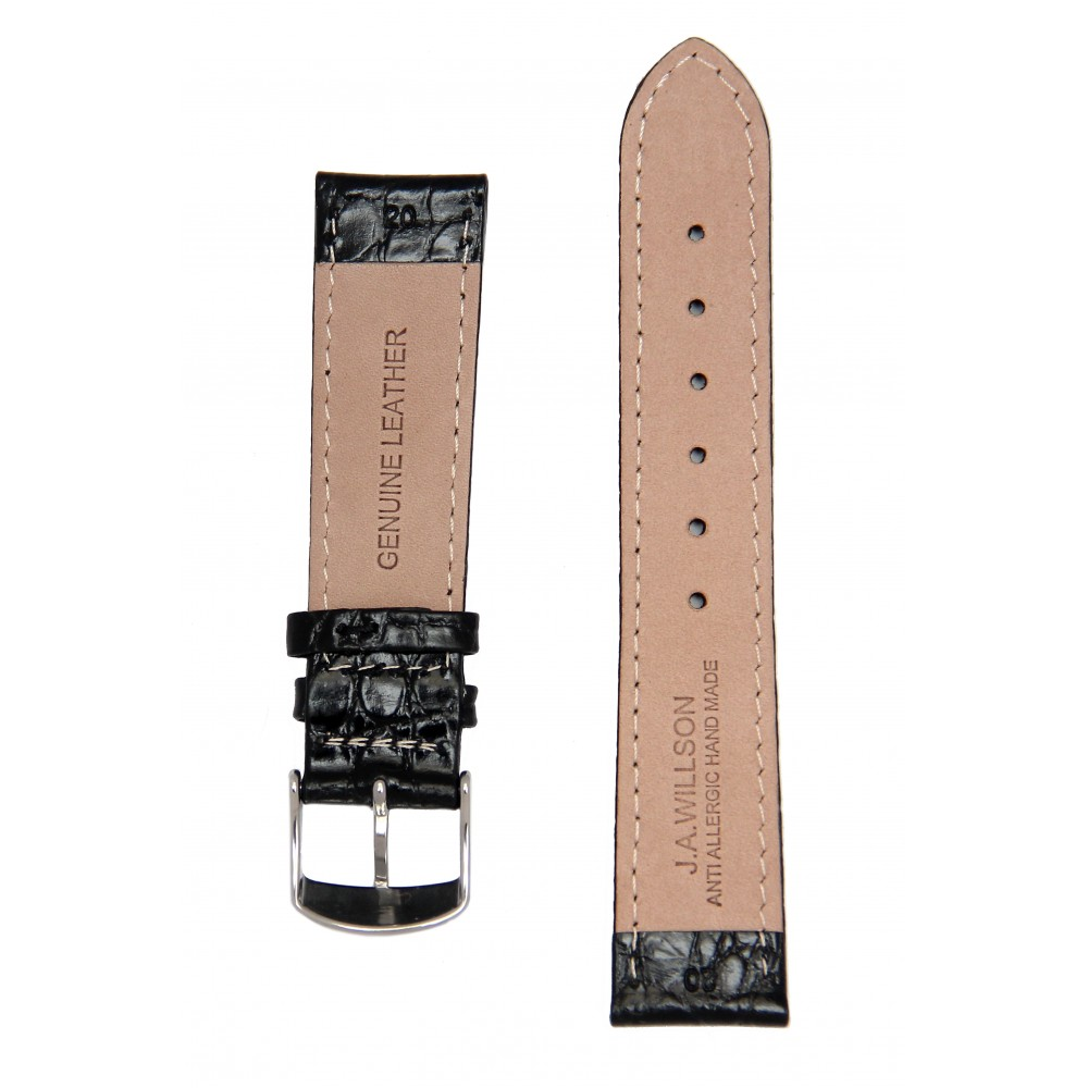Черный ремешок для часов с имитацией крокодила. Willson.