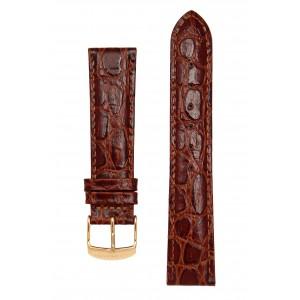 Коричневый лаковый ремешок для часов с имитацией крокодила. Willson.