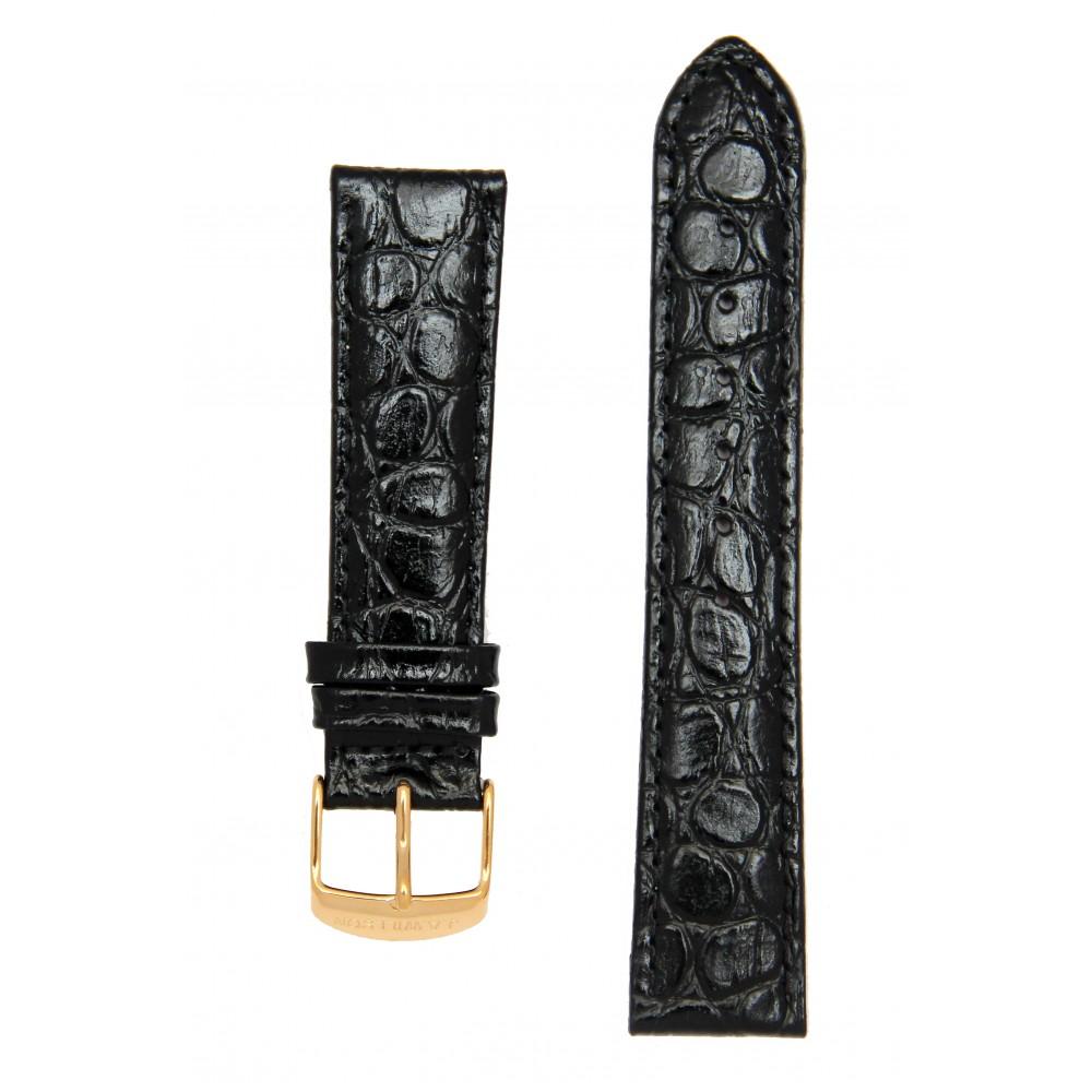 Черный лаковый ремешок для часов с имитацией крокодила. Willson.