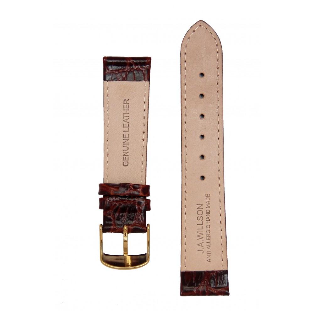 Темно-Коричневый лаковый ремешок для часов с имитацией крокодила. Willson.
