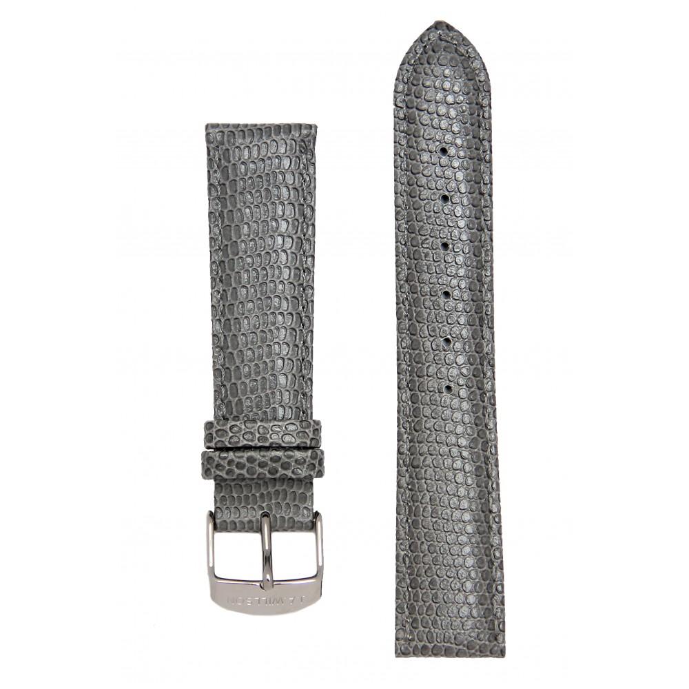Серый ремешок для часов с имитацией ящерицы. Willson.