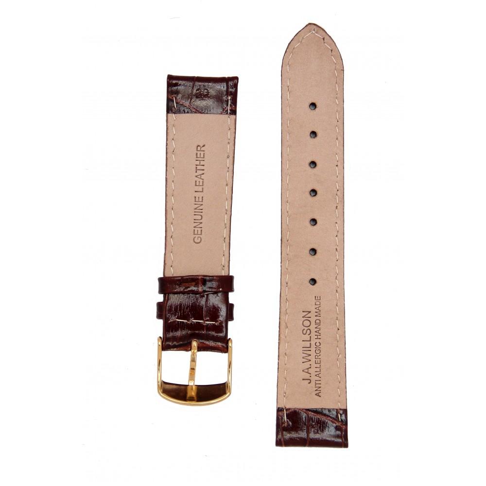 Глянцевый коричневый с белой строчкой ремешок J.A.Willson. Имитация аллигатора.