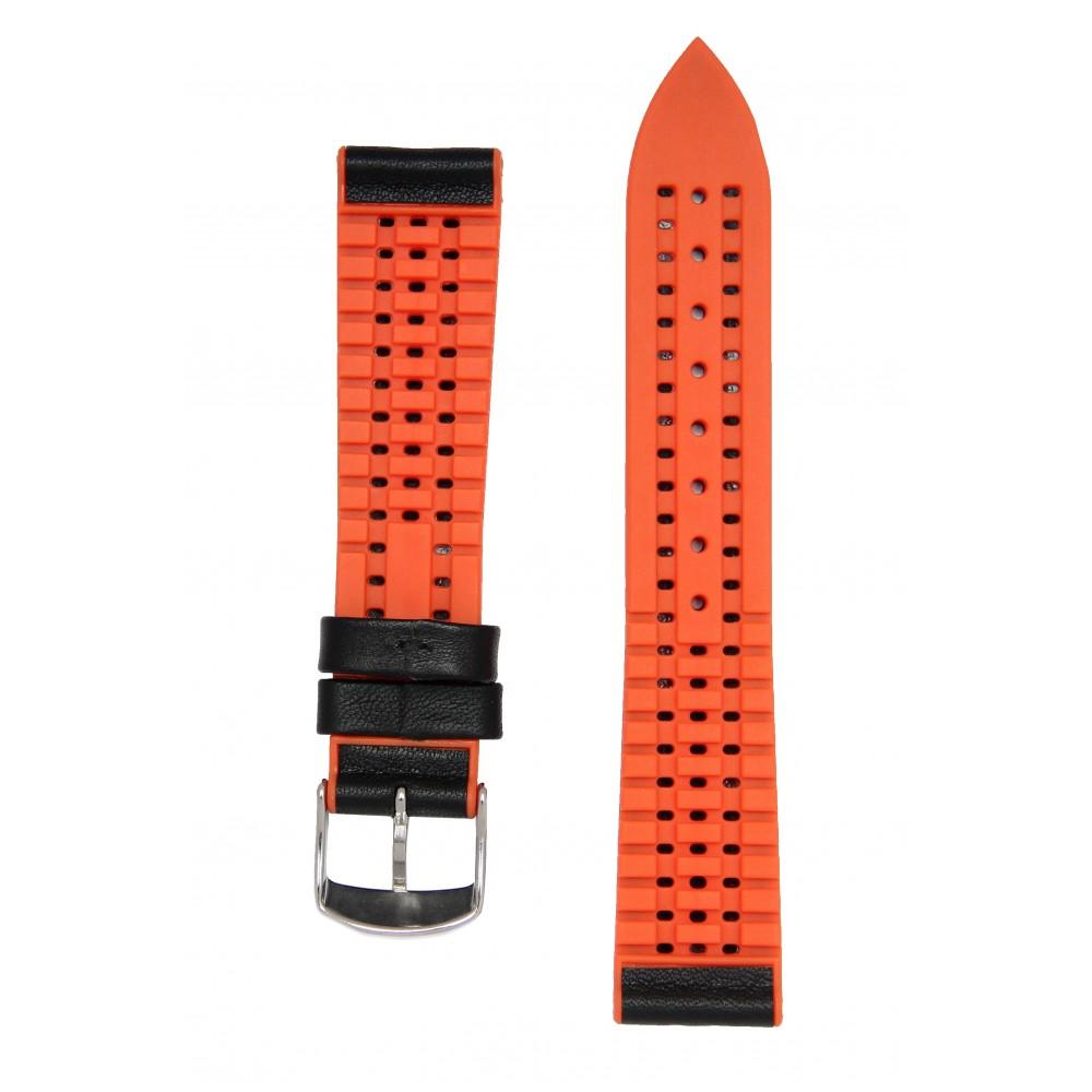 Черный с оранжевым высокотехнологичный ремешок с подложкой из каучука. Willson