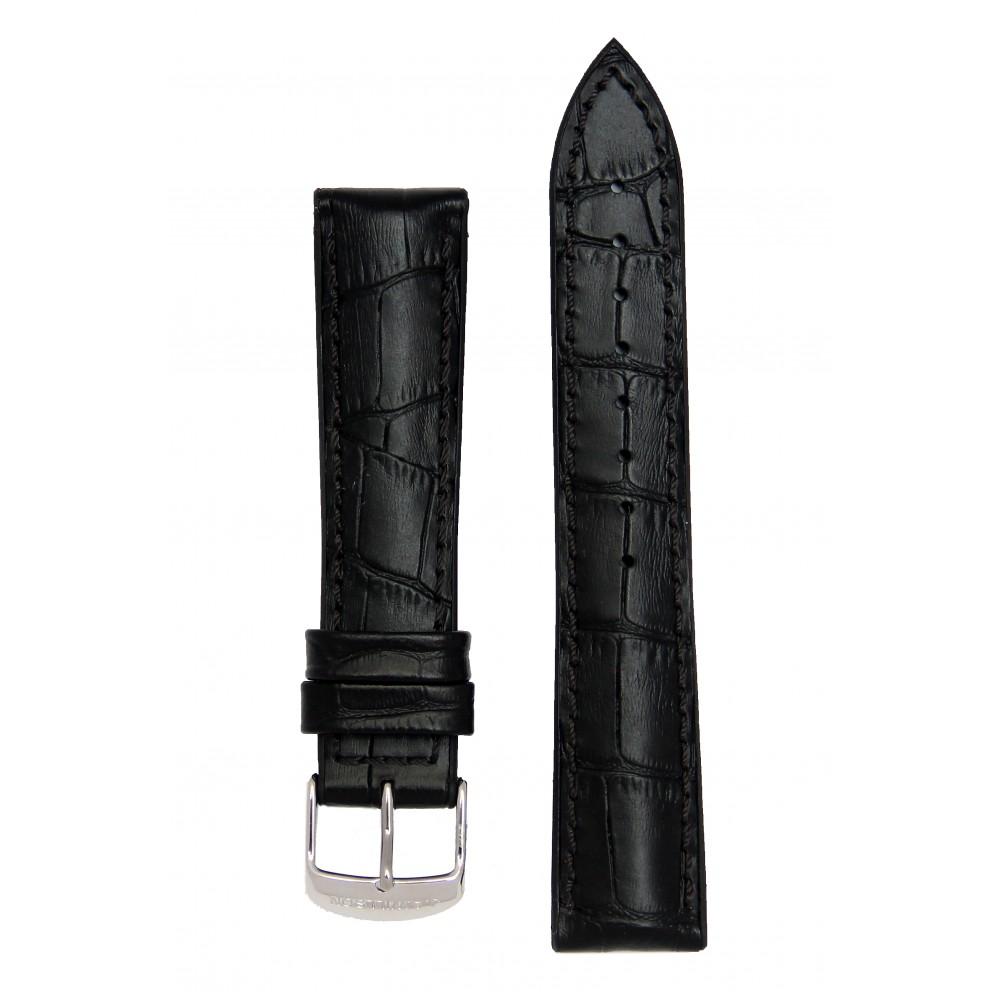 Черный ремешок с подложкой из каучука и имитацией аллигатора. Willson